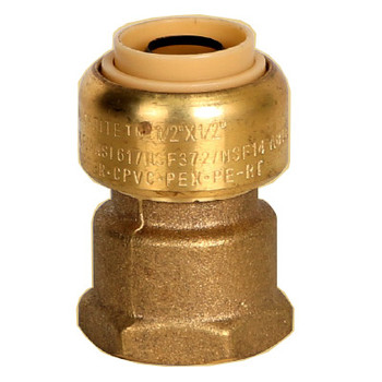 1 in. x 3/4 in. Female Adapter (Push x FNPT) QuickBite (TM) Push-to-Connect/Press On Fitting, Lead Free Brass (Disconnect Tool Included)