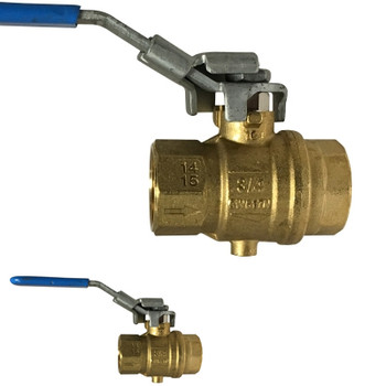 3/4 in. Vented, Full Port, Locking Brass Exhaust Ball Valve, 200 psi CWP, NPT Tap for Drain