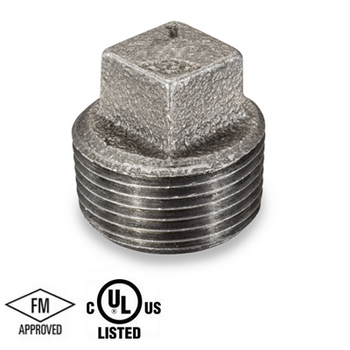 1/8 in. Black Pipe Fitting 150# Malleable Iron Threaded Square Head Plug, UL/FM