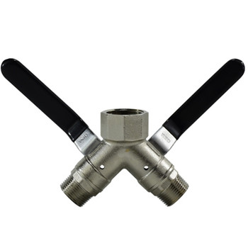 1 in. FIP x 3/4 in. MIP Connection, 250 psi WOG, 3 Way Wye Brass Ball Valve, Full Port, Non-Vented