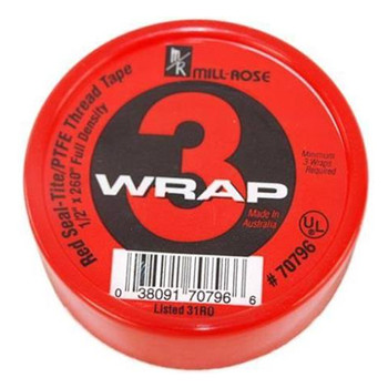 Plumber's 3-Wrap Red Waterline PTFE Thread Seal Tape 1 in. x 260 in. roll
