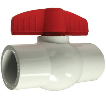 "1-1/2"" Slip x Slip, White Socket PVC Ball Valve, Full Port, 150 PSi"