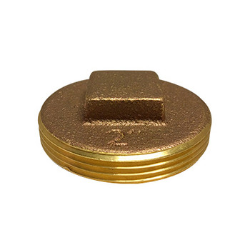 6 in. Raised Square Head Cleanout Plug, Southern Code, Cast Brass Pipe Fitting