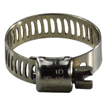 5/16 in. - 7/8 in. Miniature Marine Worm Gear Clamp, 316 Stainless Steel, 5/16 in. Band, 1/4 in. Screw