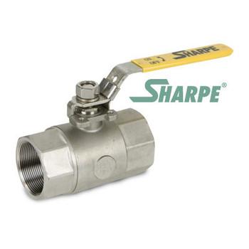 3/8 in. 316 Stainless Steel Ball Valve 2000 WOG Standard Port NPT Threaded 2-Piece Sharpe Series 54576