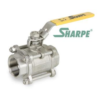 3/8 in. 316 Stainless Steel Ball Valve 1000 WOG Full Port Threaded 3-Piece Sharpe Valve Series 39036
