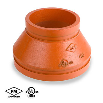 1-1/2 in. x 1 in. Grooved Concentric Reducer, Fabricated, Orange Paint Coating UL/FM - 65CR COOPLOK Groove Fitting