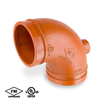 2 in. Grooved 90 Degree Drain Elbow Standard Radius, Ductile Iron Orange Paint Coating UL/FM - 65DE COOPLOK Groove Fitting