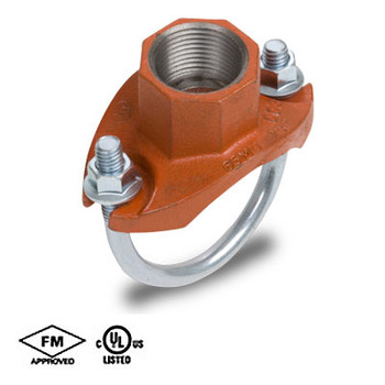 1-1/4 in. x 3/4 in. Grooved Strap Tee Threaded Outlet Orange Paint UL/FM COOPLOK Grooved Fitting Branch Outlet