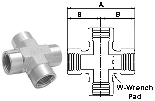Stainless Steel High Pressure Fittings 316 Stainless Steel | Female Crosses