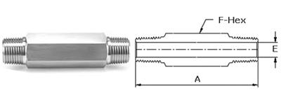 Stainless Steel Threaded High Pressure Long Hex Nipples