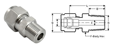 Stainless Steel Compression Fittings Tube Fittings Male Straight Connectors