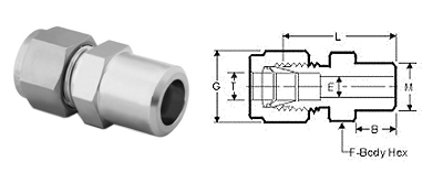 Stainless Steel Compression Fittings Tube Fittings Male Pipe Weld Connectors