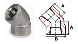 Pipe Fittings Stainless Steel Forged Threaded Pipe 3000 lb Dimensions 45 Degree Elbows