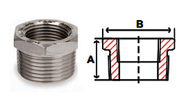 Hex Bushings Threaded 3000 lb Stainless Steel Forged Pipe Fittings