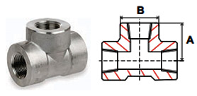 Reducer Tees Threaded 3000 lb Stainless Steel Forged Pipe Fittings