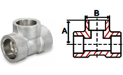Tees Socket Weld 3000 lb Stainless Steel Forged Pipe Fittings