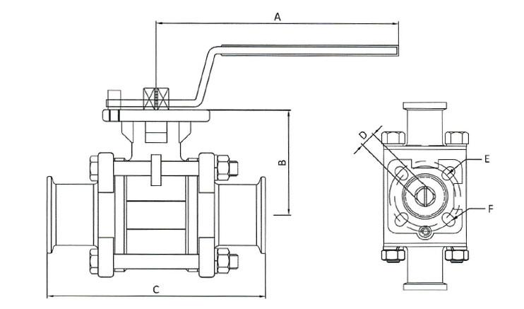 Sanitary Encapsulated 2-Way Ball Valves, 800PSI Full Port, CF8M 316 Stainless Steel