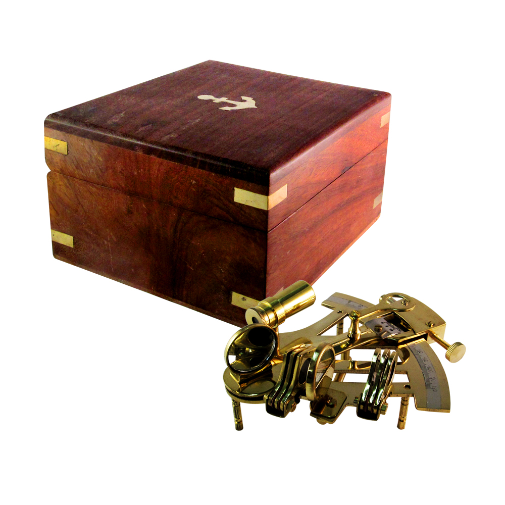Nautical Sailor Brass Sextant with Wooden Box