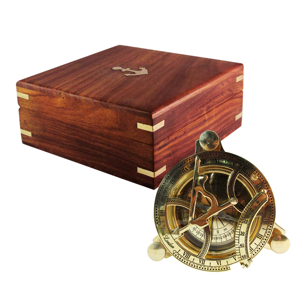 Pirate Sundial Compass in Wooden Box