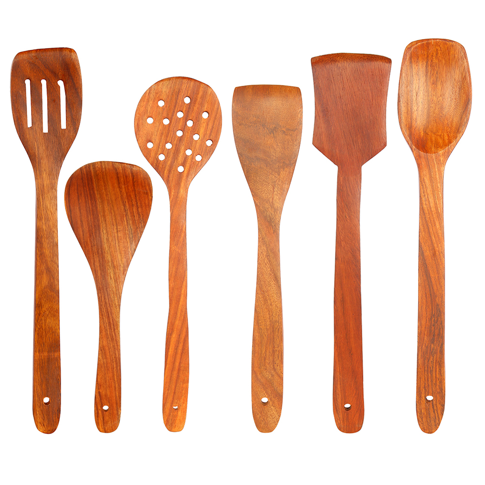 Set of 6 Wooden Spoons and Spatulas