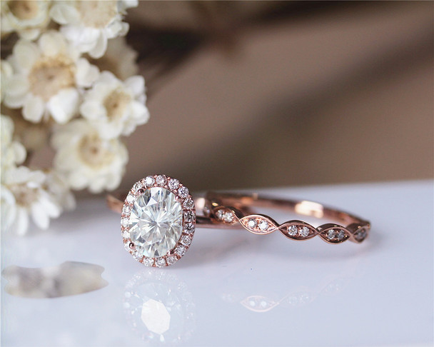 6x8mm Oval Cut Forever Classic Moissanite Ring Set Wedding Ring Set Solid 14K Rose Gold