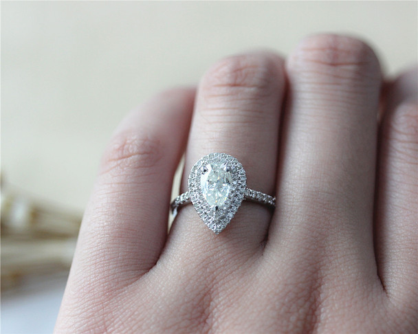 Double Halo Engagement Ring 1ct Pear FB Moissanite Engagement Ring Solid 14K White Gold Ring
