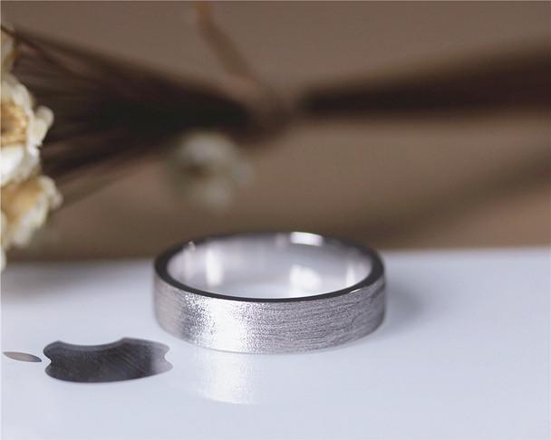 Vintage Men Wedding Ring Solid 14K White Gold Plain Band Wedding Ring