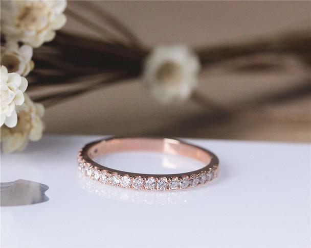 Natural Diamond Wedding Ring Solid 14K Rose Gold Diamond Engagement Band Wedding Band Half Eternity