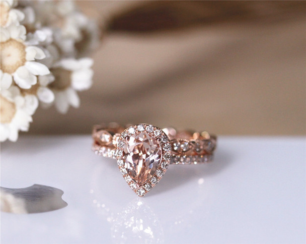 1.2ct Pear VS Morganite Ring Set 2PCS Engagement Ring Set Solid 14K Rose Gold
