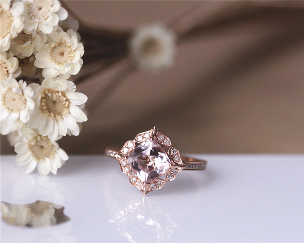 1.1ct Cushion Vintage Floral VS Morganite Engagement Ring Solid 14K Rose gold