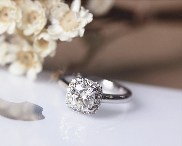 1.1ct Forever Brilliant Cushion Moissanite Engagement Ring Solid 14K White Gold Ring
