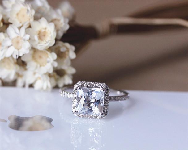 7mm Princess Cut VS Natural White Topaz Ring Solid 14K White Gold Wedding Ring Topaz Engagement Ring
