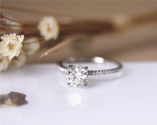 Forever Brilliant Charles & Colvard Round 1.2ct 7mm Moissanite Engagement Ring Solid 14K White Gold