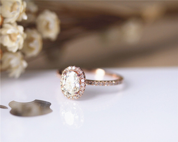 1ct Charles&Colvard Oval Brilliant Moissanite Engagement Ring Solid 14K Rose Gold Moissanite Ring