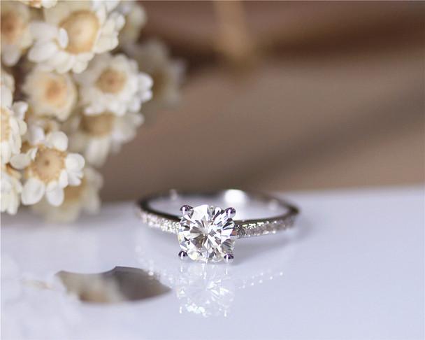 1ct Forever Brilliant Charles & Colvard 6.5mm Round Moissanite Engagement Ring Solid 14K White Gold