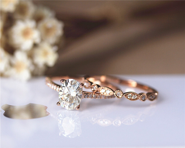 1.5ct Brilliant Moissanite Engagement Ring Set Solid 14K Rose Gold Wedding Ring Set