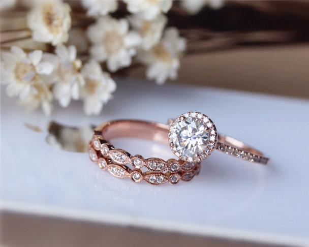 1ct Brilliant Moissanite Engagement Ring 3 Ring Set Solid 14K Rose Gold Wedding Ring Set