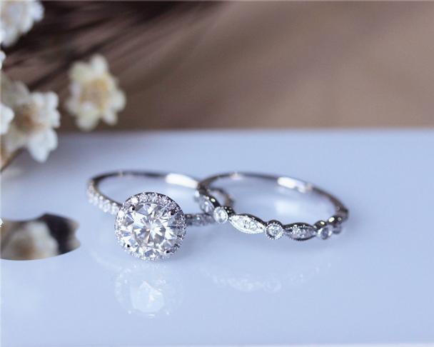 1ct Brilliant Moissanite Engagement Ring Set Solid 14K White Gold Wedding Ring Set