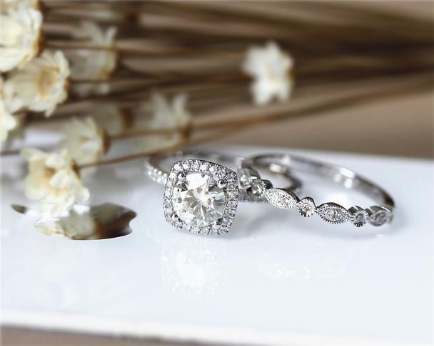 Wedding Ring Set 1ct Brilliant  Moissanite Engagement Ring Set Solid 14K White Gold Wedding Ring