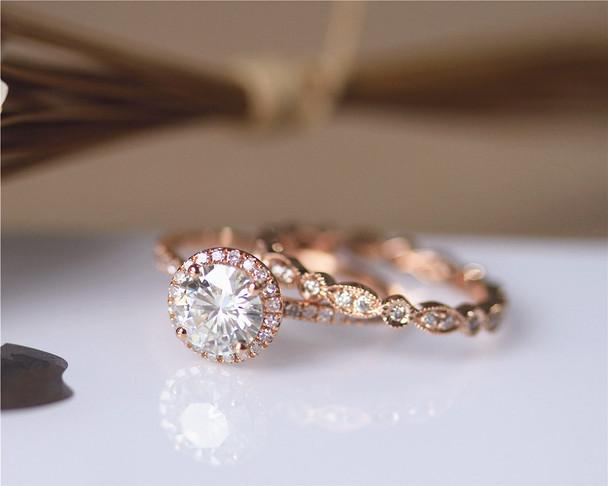 1.2ct 7mm Brilliant Moissanite Engagement Ring Set Solid 14K Rose Gold Wedding Ring Set