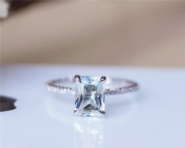 6x8mm Aquamarine Ring Solid 14K White Gold Aquamarine Engagement Ring Wedding Ring