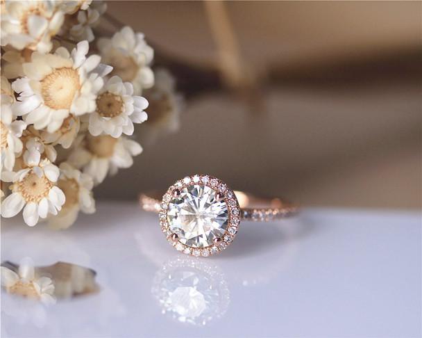 1.5ct Round Charles & Colvard Brilliant Moissanite Ring Solid 14K Rose Gold Wedding Ring