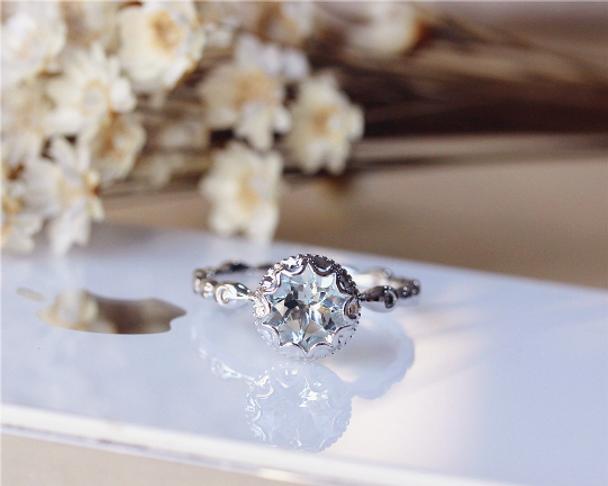 7mm Round Cut Vintage Floral Aquamarine Ring Solid 14K White Gold Engagement / Wedding Ring