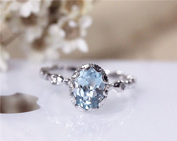 6x8 mm Oval Vintage Floral Natural Aquamarine Ring Solid 14K White Gold Aquamarine Ring