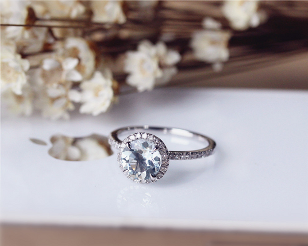 7mm Round Cut Aquamarine Ring Solid 14K White Gold Engagement Wedding Ring Anniversary Ring