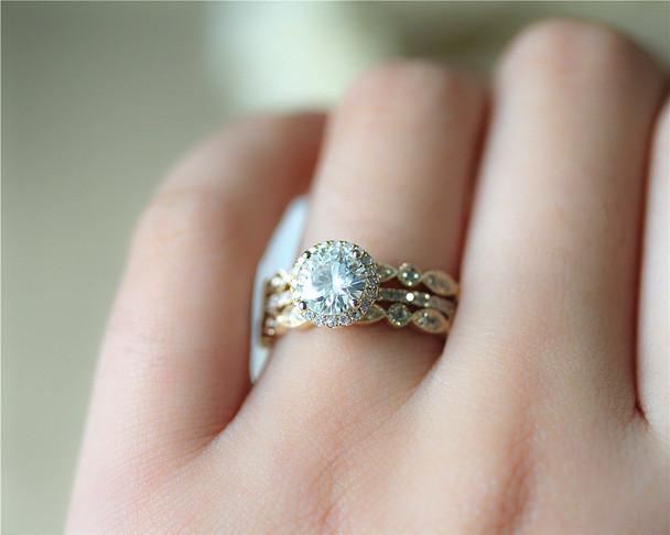 1ct Brilliant Moissanite Engagement Ring 3 Ring Set Solid 14K Yellow Gold Wedding Ring Set