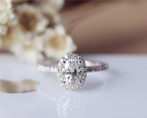 6x8mm Oval Brilliant Moissanite Engagement Ring Solid 14K White Gold Moissanite Ring