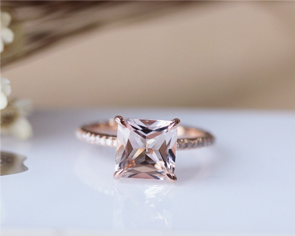 8mm Princess Cut Morganite Ring Solid 14K Rose Gold Morganite Engagement Ring Wedding Ring
