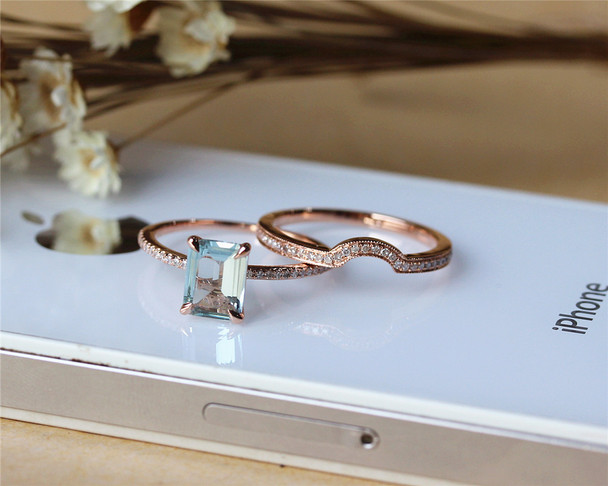 6x8mm Aquamarine Ring Set Solid 14K Rose Gold Aquamarine Engagement Ring